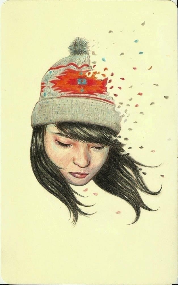 Flakes Colored pencil moleskine - fille_anachronisme | ello