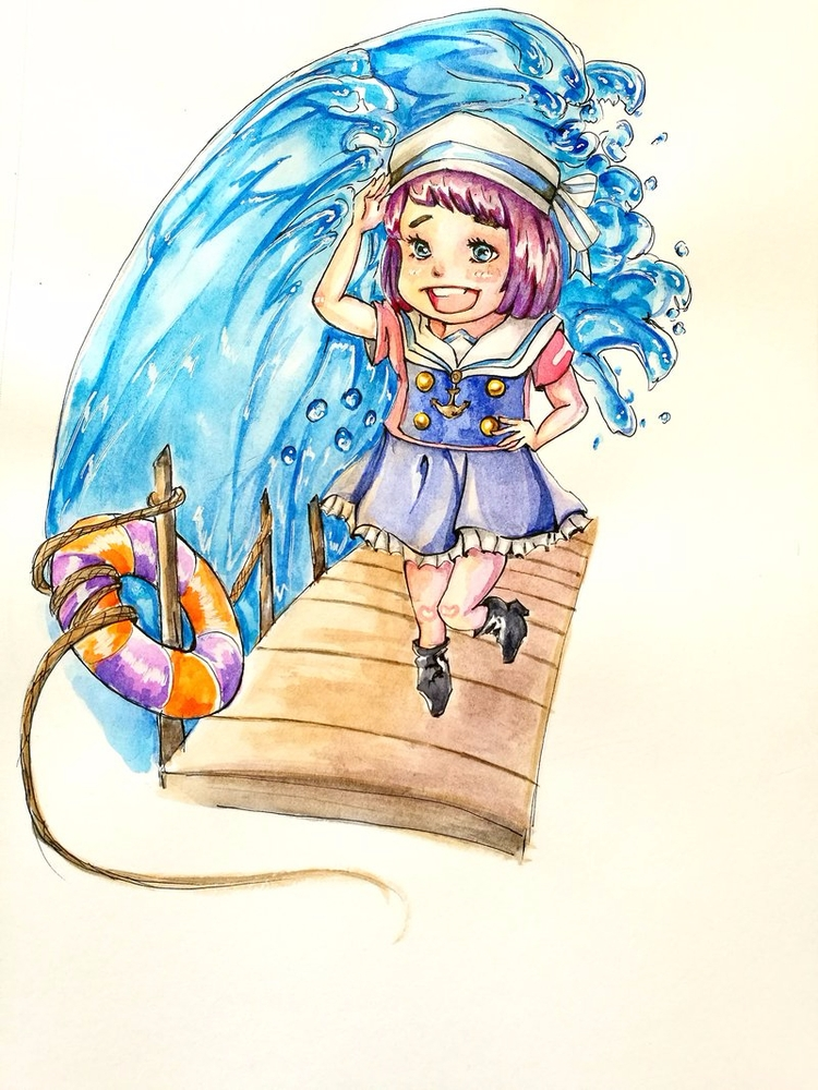 commission - chibi, art, watercolors - toyona | ello