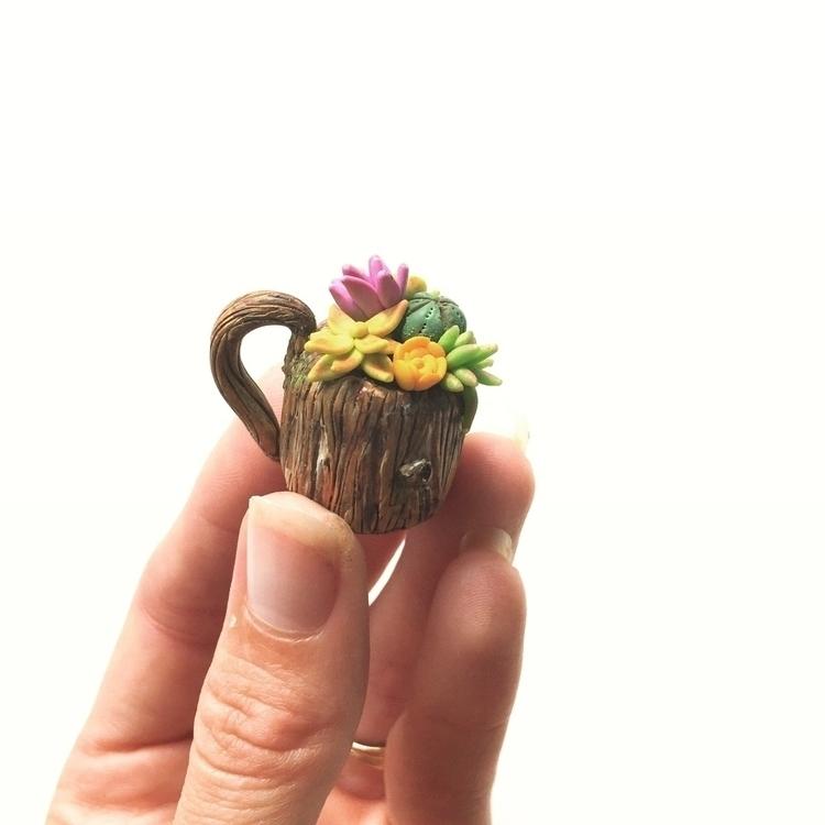 Succulent wood mug - polymer, polymerclay - thethirstydesert | ello