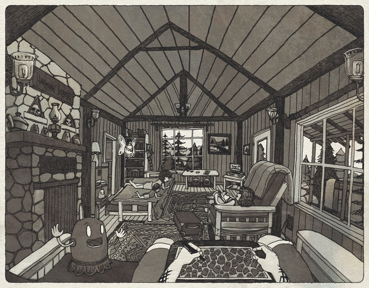 Sitting cabin hot Drawing boys  - junkyardsam | ello