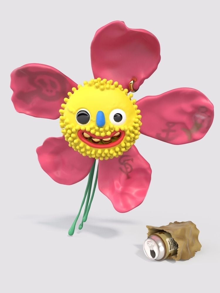 Fuzzy Daisy created rendered - Sculpture - joy | ello