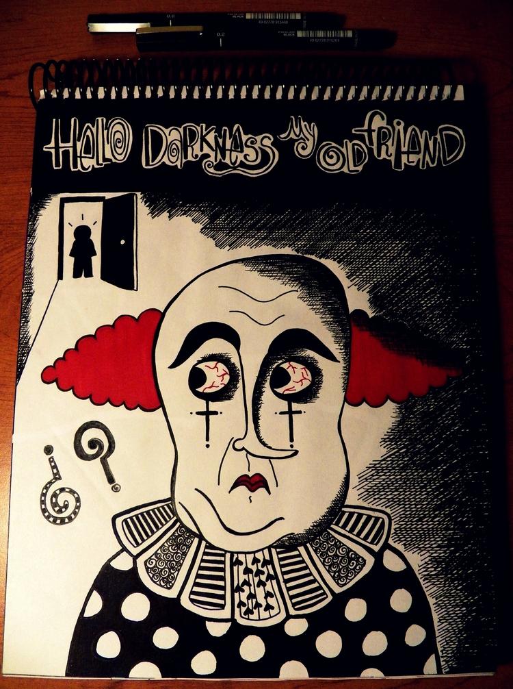 darkness friend - clown, blackandwhite - antonellietta | ello