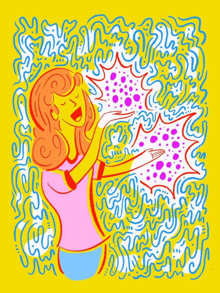 Atoms happiness - illustration, illustrator - heybop | ello