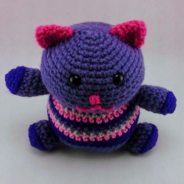 Happy Fat Kitty Lucky Cat hope  - miniaturemonkeycreations   ello