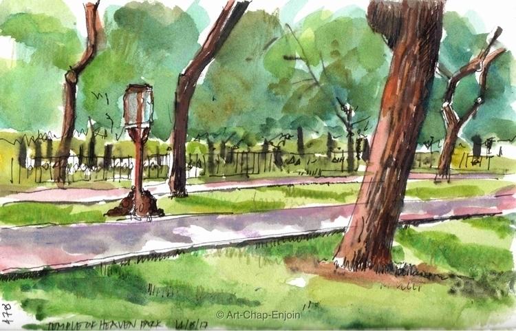 - Temple heaven park drawn day  - artchapenjoin | ello