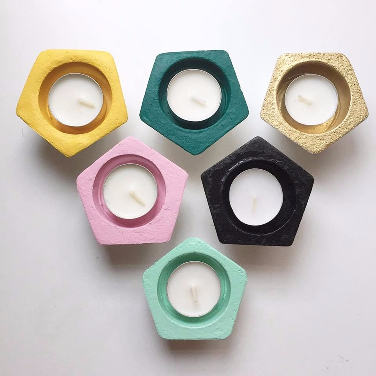 Pentagon concrete tea light hol - sweetyellowdecor | ello