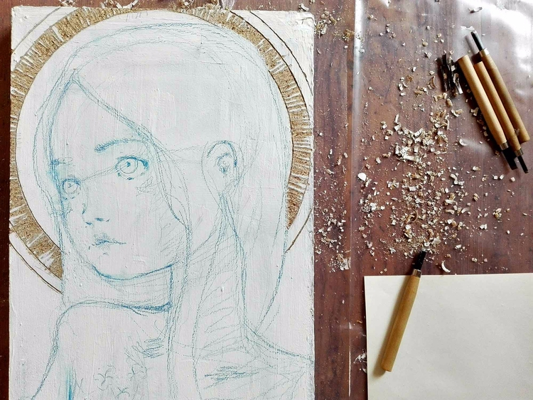 flux - painting, artisan, wood, sacre - diegogabriele | ello