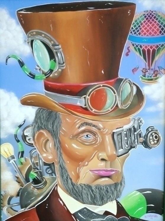 Steam punk Abe. Acrylic canvas  - jasonackerman | ello