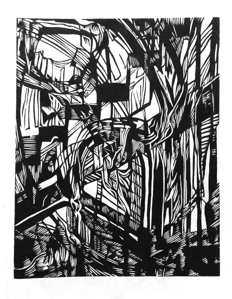 Stairs Shadows woodblock print - centaursarrow | ello