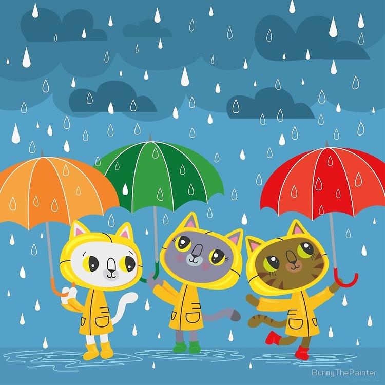 Rainy Day Kitty Cats rainbows e - littlebunnysunshine | ello