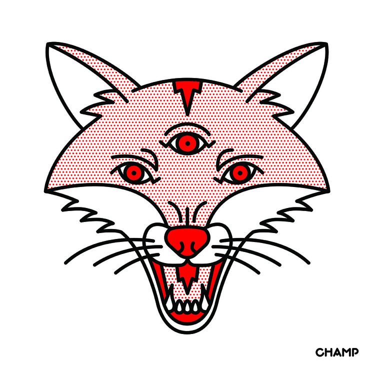 Triclops Fox - fox, triclops, halftone - champnyc | ello