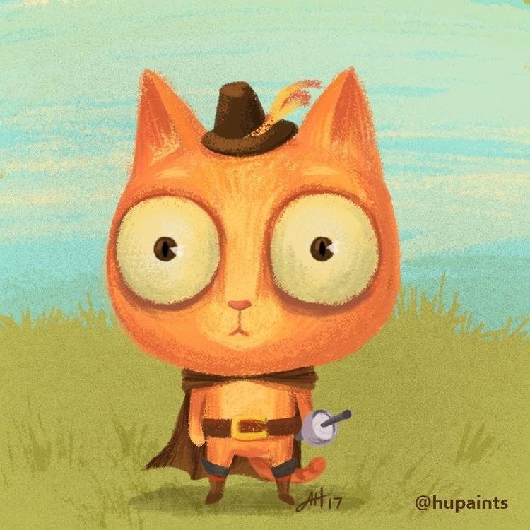 Puss boots - catart, cat, digitalart - hupaints | ello