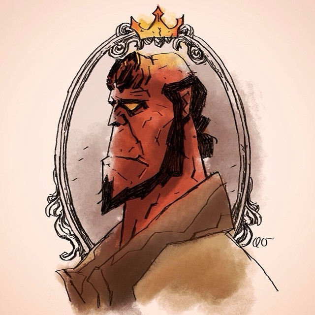 Hellboy, Therighthandofdoom, illustration - quiqueortega | ello