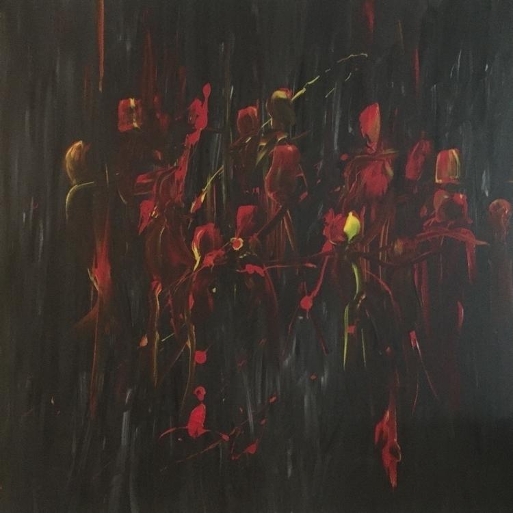 Night fire party Acrylic canvas - nunorebelo | ello