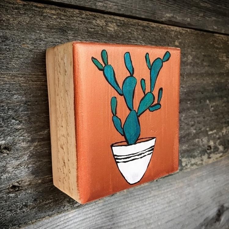 cactus painting wood block - southweststyle - highyieldstudio | ello