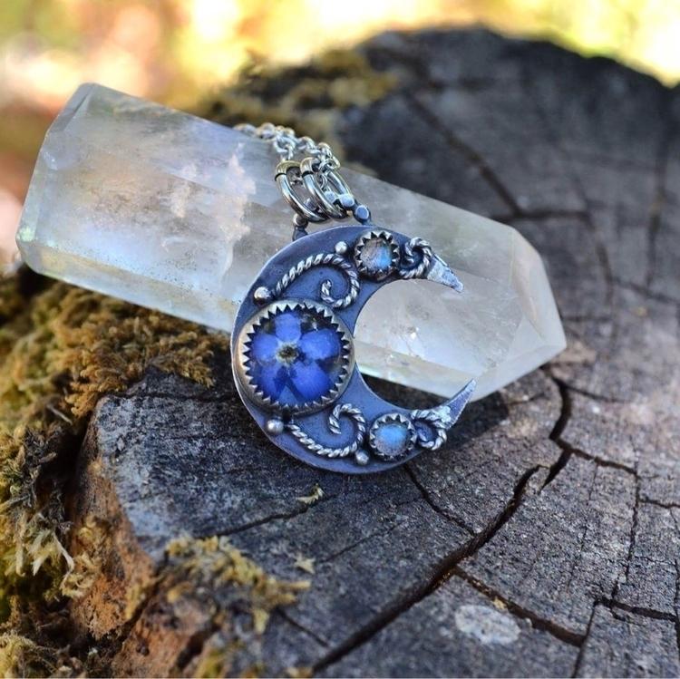 mini moon sterling silver penda - lunafloradesigns | ello