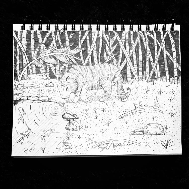 walking tiger Ink 7x10 mixed me - makaylasophia | ello