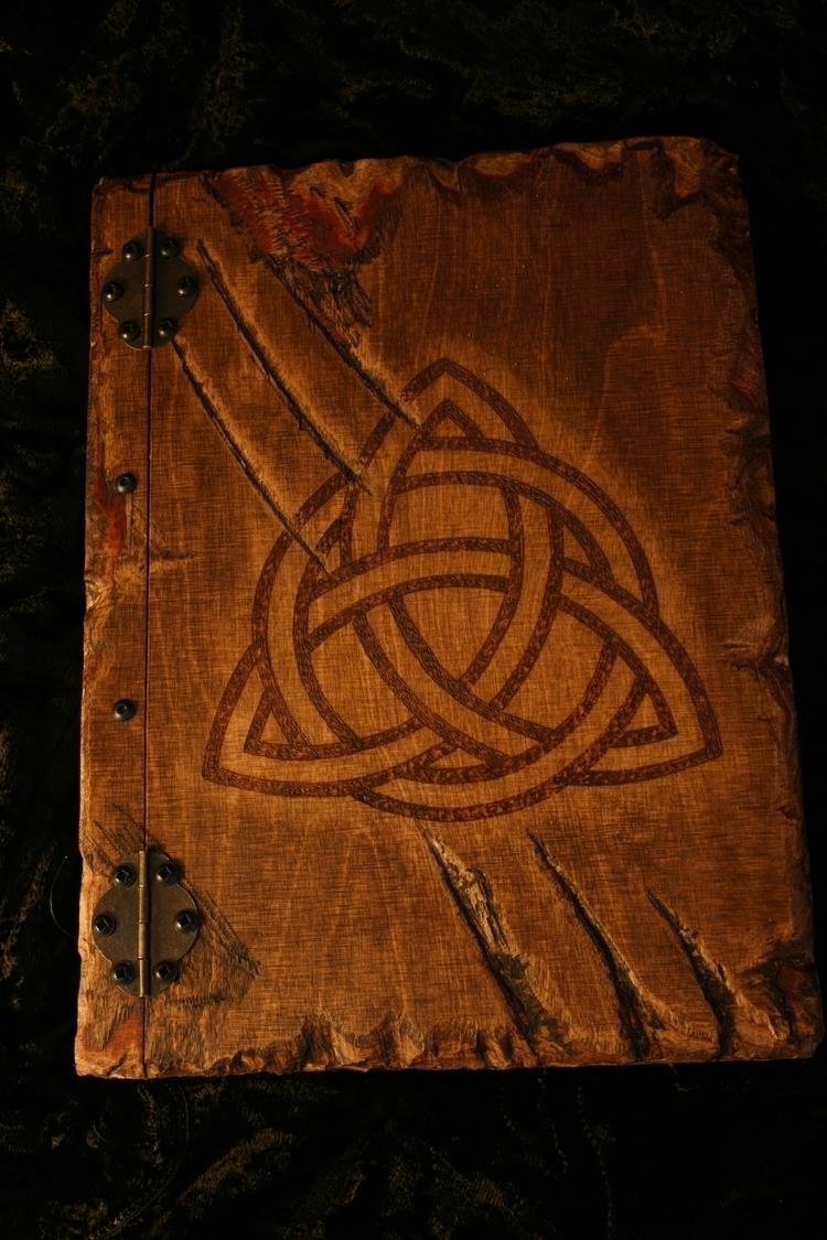 Wooden book Triquetra design - Grimoire - demondragonfly | ello