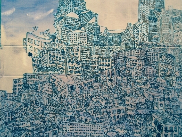 city, illustration, ink, cardboard - ali_am | ello