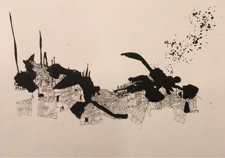 ink, illustration, city, cairo - ali_am | ello