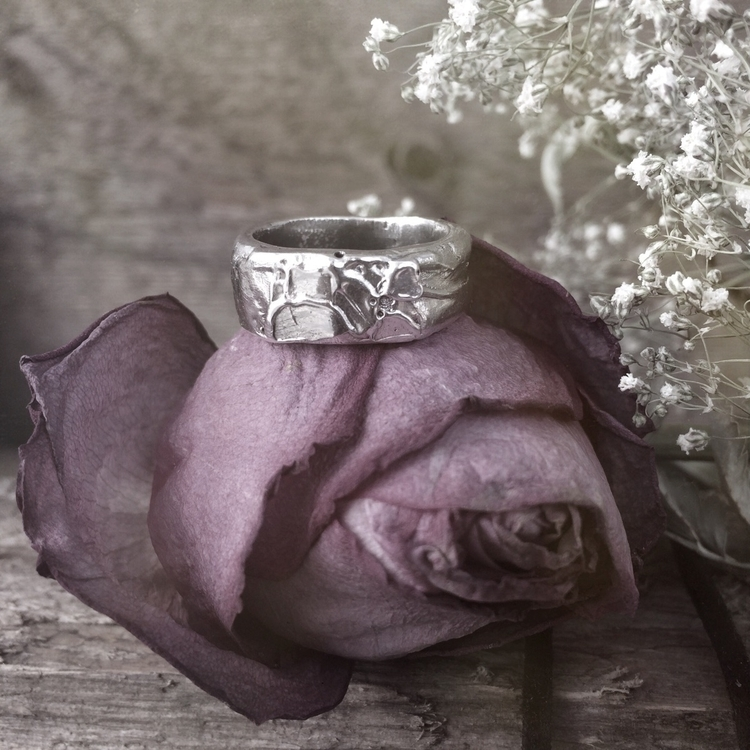 Textured Silver band ring, cast - thedeepwinter   ello