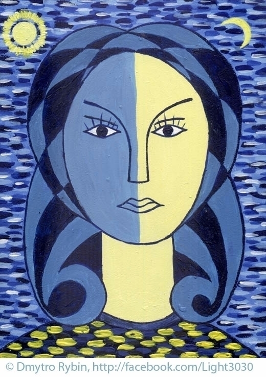 Female portrait blue yellow ton - dmytroua | ello