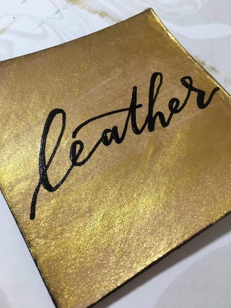 Calligraphy gold painted leathe - chickadeedixie | ello