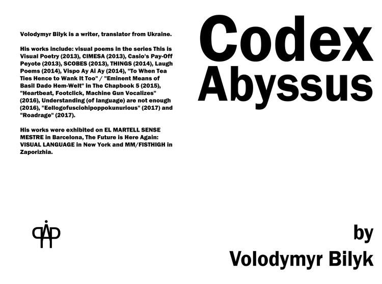 Codex Abyssus Volodymyr Bilyk A - asemicwriter | ello