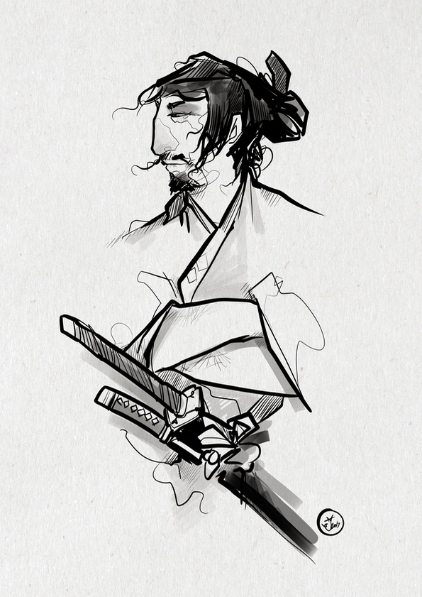 Rōnin - illustration, sketch, samurai - shugmonkey | ello