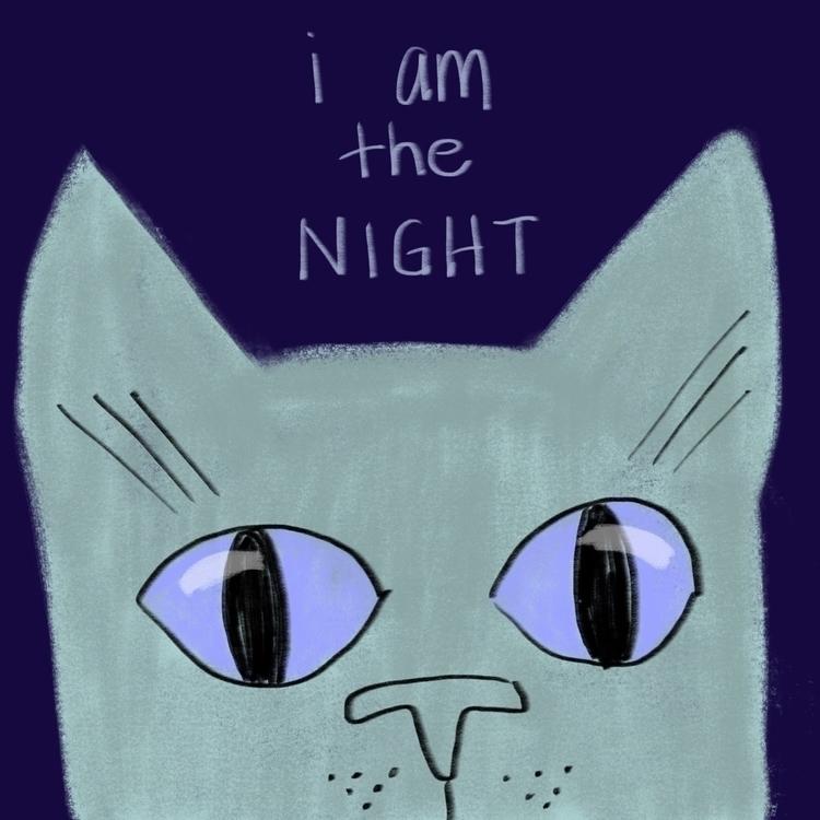 night - cat, illustration - reneeleigh   ello