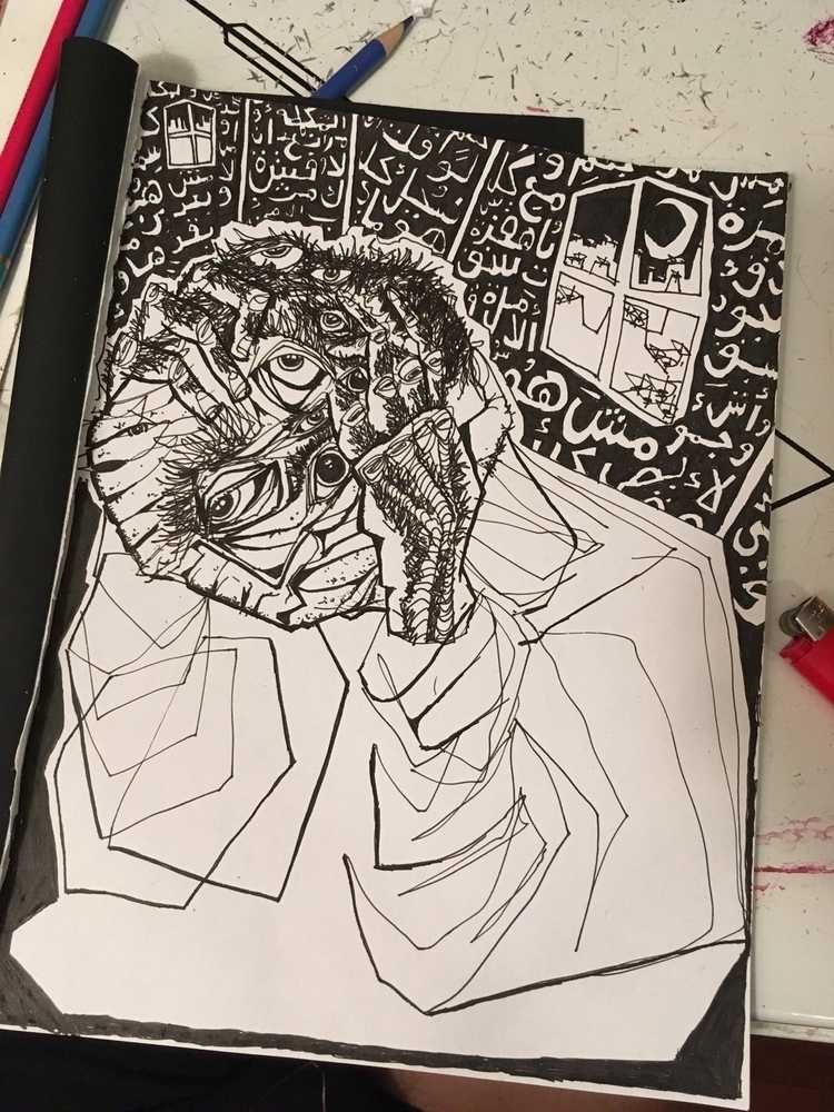 sketchbook, drawing, ink, night - ali_am | ello