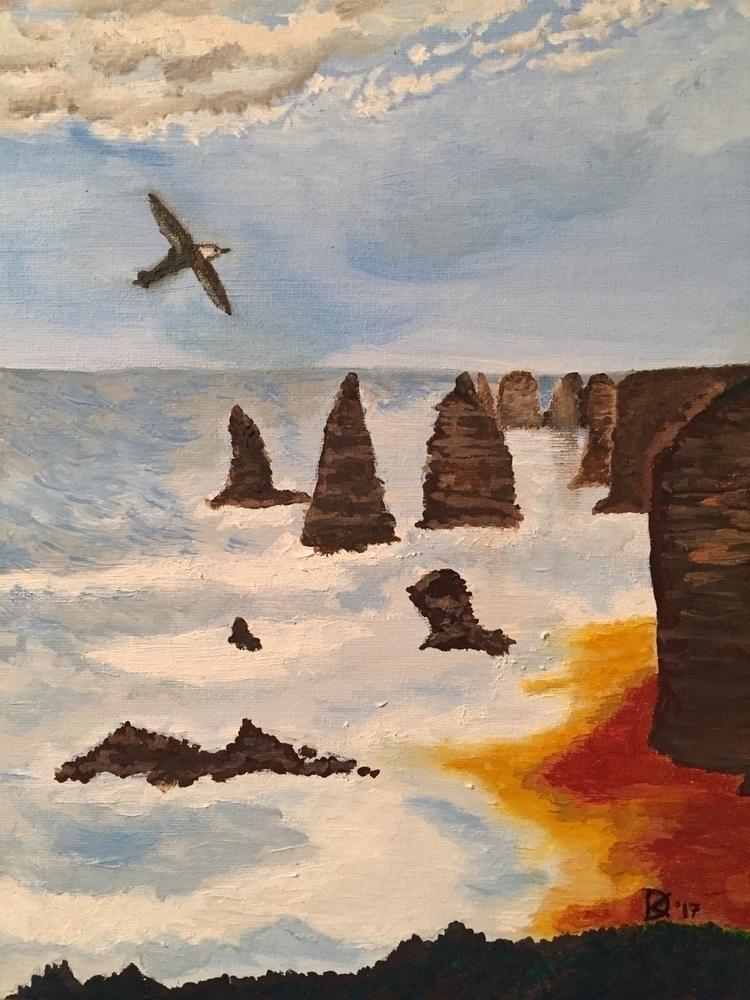 Limestone stacks. Oil painting  - sacrecour   ello