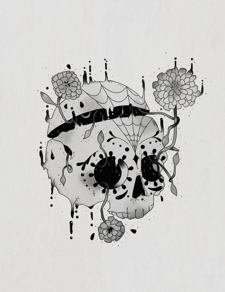 SUGAR SKULL - petunia, illustration - yosoypetunia | ello