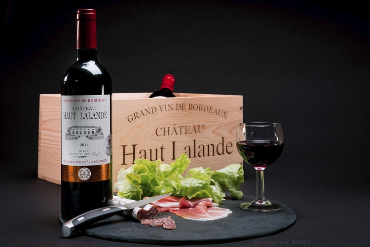 glass wine  - food, bordeau, ham - christophen | ello