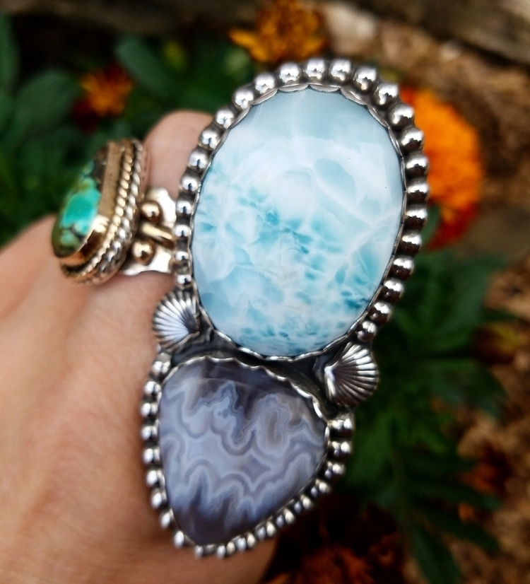 Beach ready, Larimar ghost agat - eclecticblingjewelry | ello