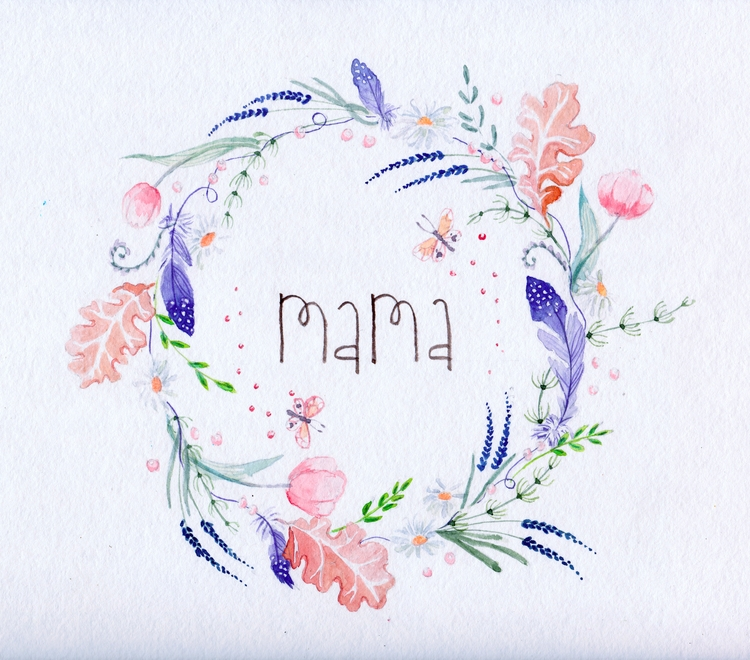 Mama Tender watercolor wreath - mom - flolmi | ello