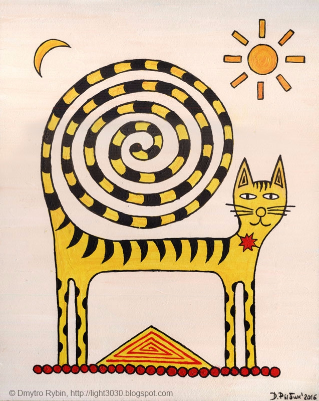 Cat spiral tail - cat, magic, yellow - dmytroua | ello