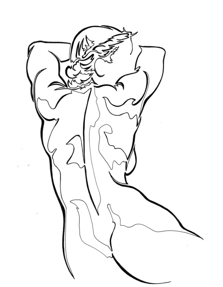 Woman leaning - beautiful Ink p - robert_bentley   ello