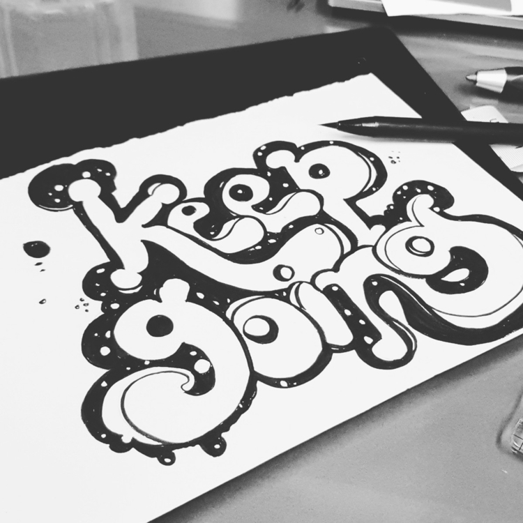Folks - brushlettering, typo, black - chinkyr | ello
