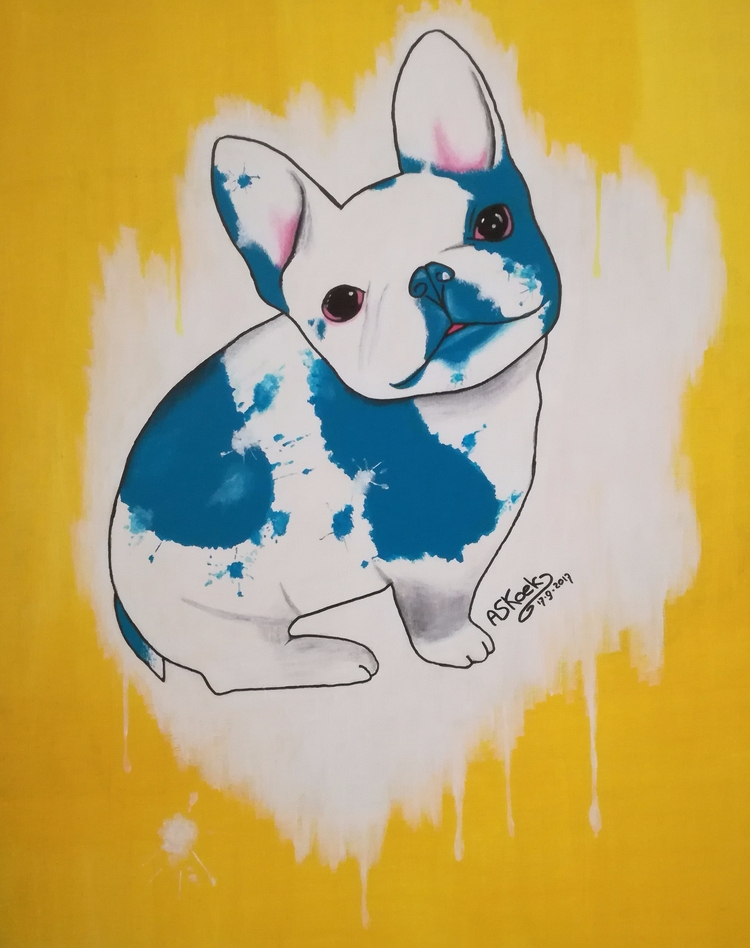 French bulldog, acrylics canvas - ayanakoek | ello