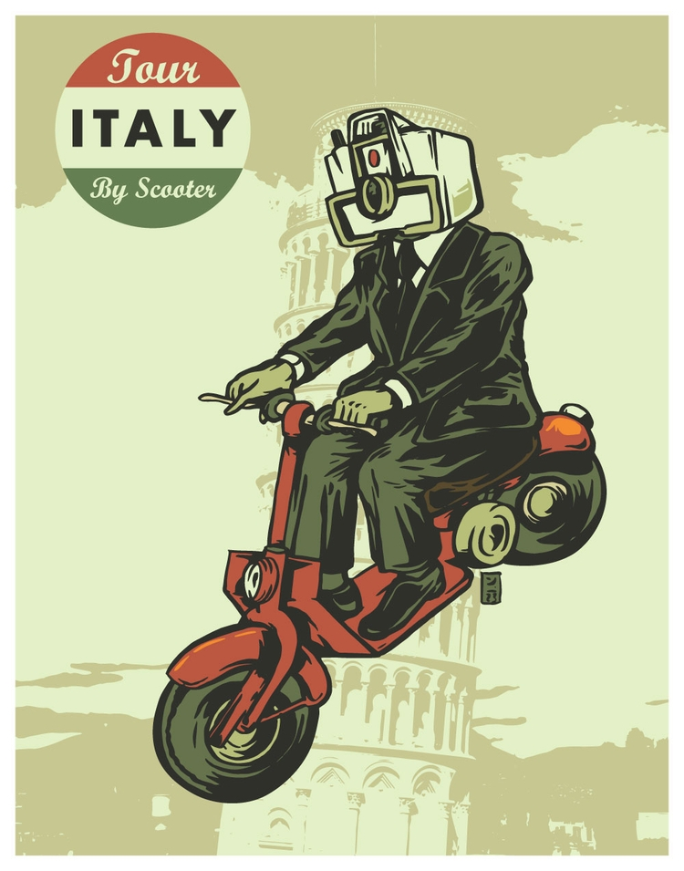Tour Italy Scooter - illustration - thomcat23 | ello