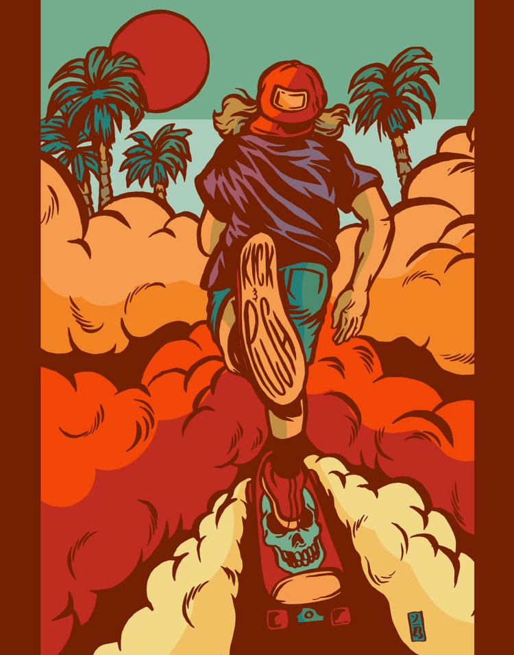 Kick Push - illustration - thomcat23 | ello