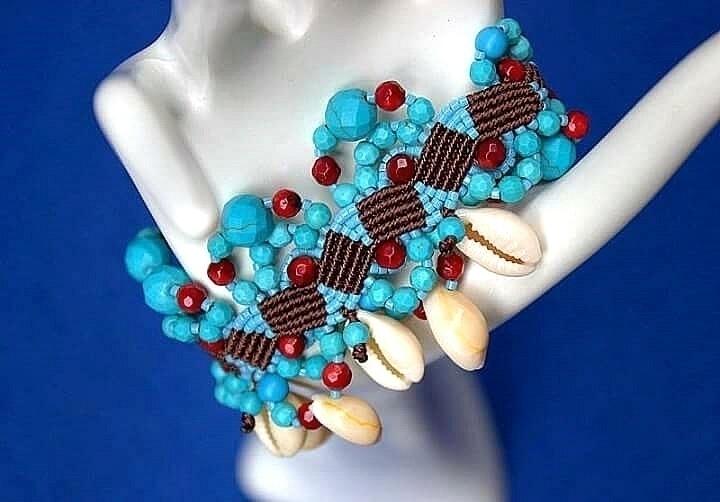 cuff, bracelet, natural, shells - macrame_birbyzossleptuve | ello