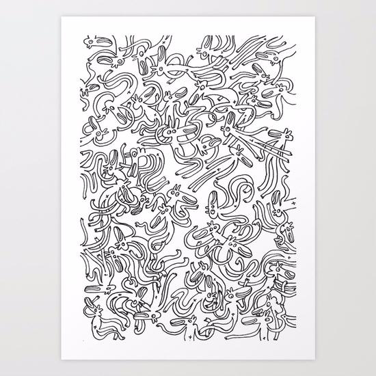 Garbled/ ART PRINT/ 2017 - doodle - babakesmaeli | ello