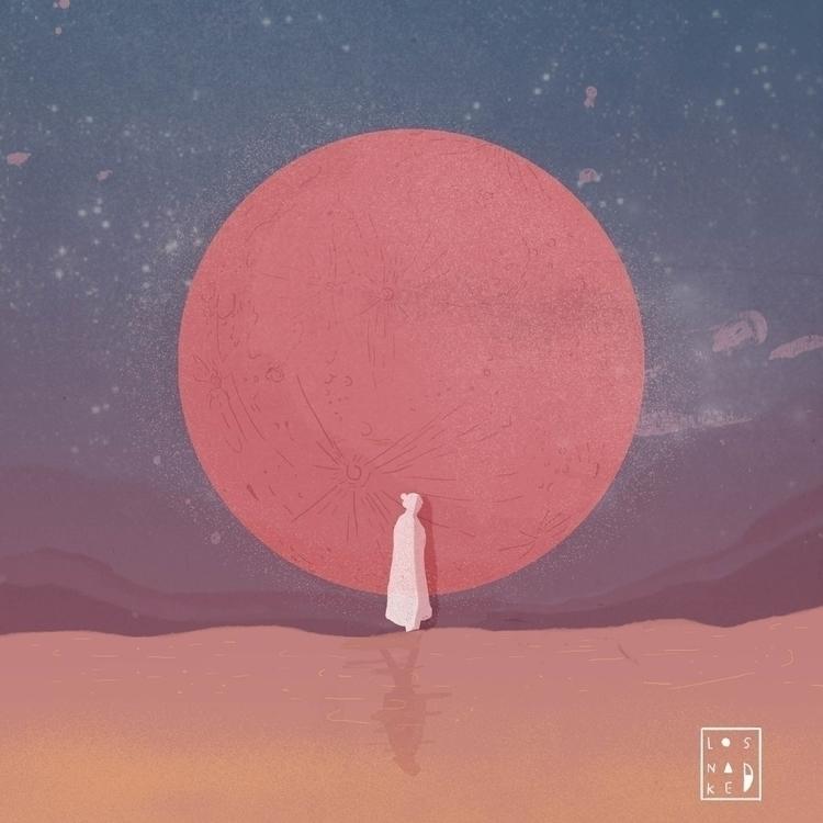 pink moon - digitalart, illustration - losnaked | ello