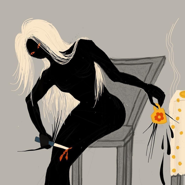 illustration, sketch, woman, dark - borianag | ello