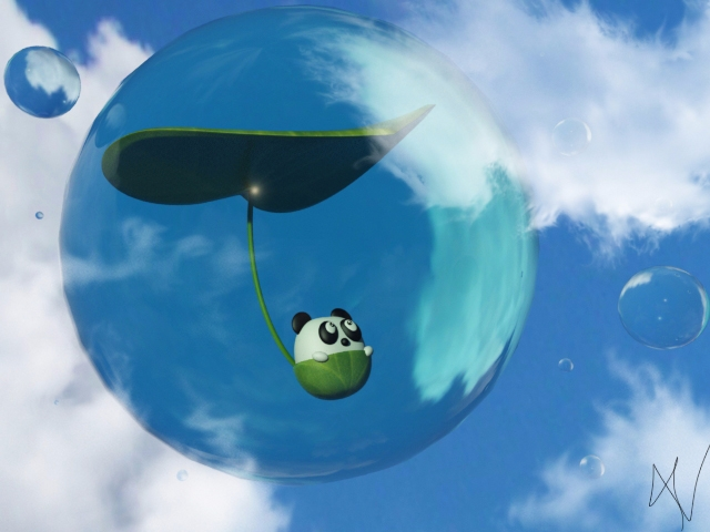 Flying Panda - Illustração 3D - viithay | ello