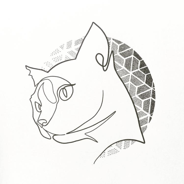 Cat. Tattoo design. Single line - qlu | ello