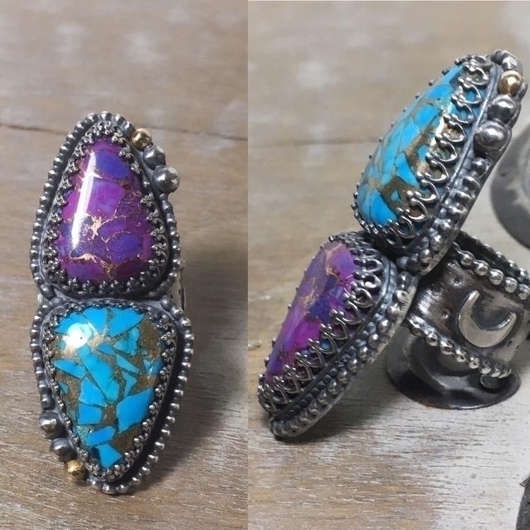 Double turquoise statement ring - phoenixrisingjewelry | ello