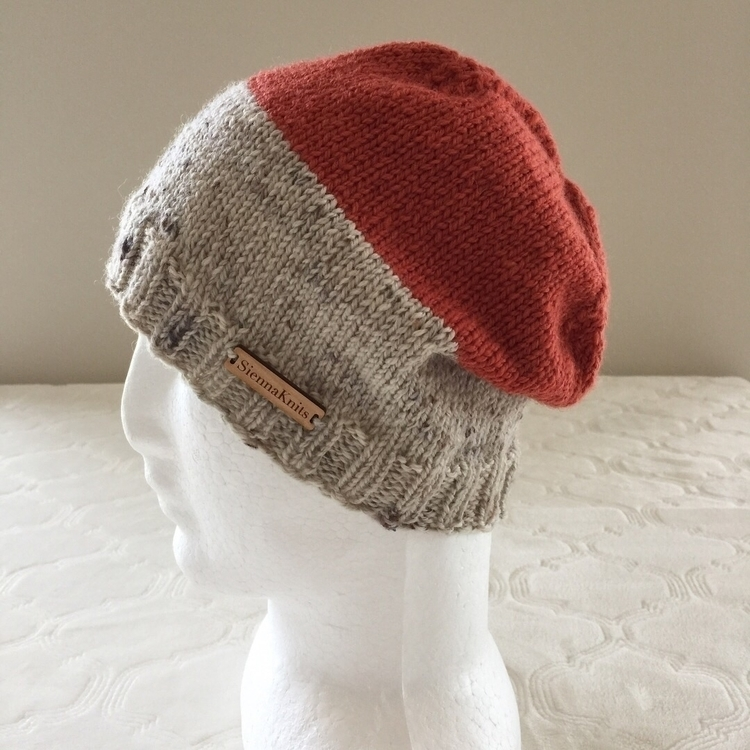 2 Colour Wool Beanie. Check Ets - siennaknits | ello